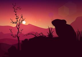 Gerbil silhouette coucher de soleil vecteur libre