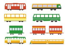 Vector d'icônes de train de fret et de bus gratuit
