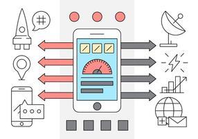 Icônes de logiciels mobiles linéaires vecteur