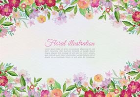 Carte de voeux libre de vecteur avec des fleurs peintes