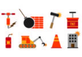 Ensemble d'icônes de démolition vecteur