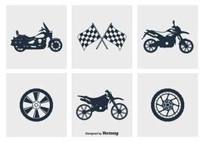 Icônes de vecteur de silhouette de moto