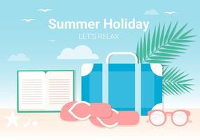 Vecteur de conception plat gratuit plage d'été