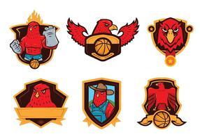 Vecteur de mascotte de badge de faucon