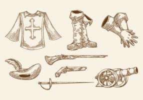 Vecteur des icônes des mousquetaires