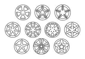 Vector de ligne de collection de roues en alliage gratuit