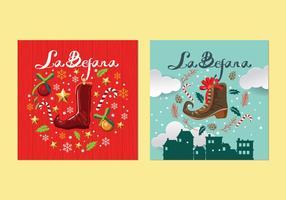 Vecteurs de cartes traditionnelles de Noël de Befana