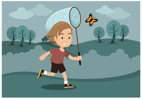 Free Boy With Butterfly Vector Vector