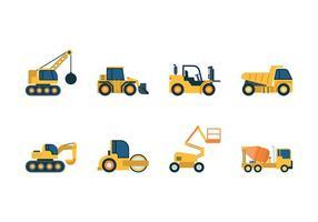Icônes du véhicule de construction vecteur