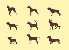 Silhouettes de chien vecteur