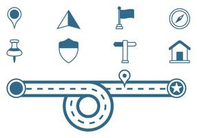 Icônes de signe de feuille de route