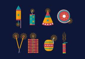 Vecteur de craquelins de feu diwali gratuit
