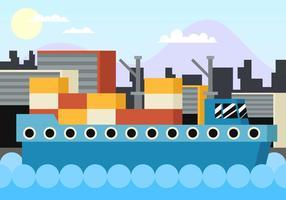 Vecteur d'illustration plat au chantier naval