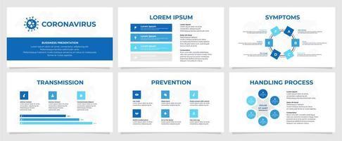 modèle de présentation d'entreprise de coronavirus en blanc et bleu