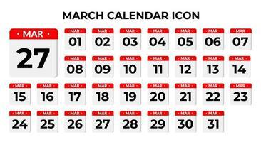 icônes de calendrier de mars