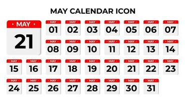 icônes de calendrier mai