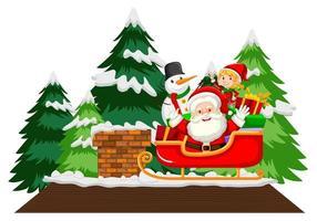 père noël sur traîneau avec bonhomme de neige et arbres