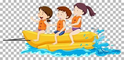 enfants sur le bateau banane vecteur