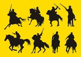 Ensemble de silhouete de cavalerie Free Vector