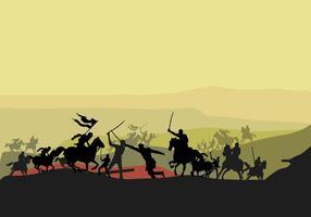 Cavalerie sur le Sahara Silhouette vecteur
