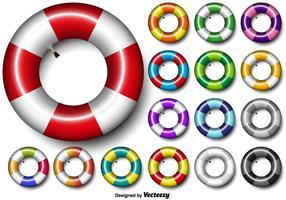 Ensemble de vecteur coloré de l'icône 3d de tube intérieur