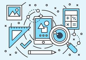Éléments de marketing numérique linéaire gratuit vecteur