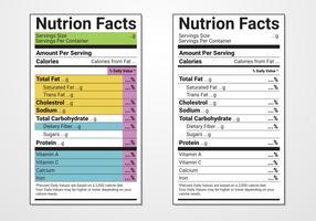 Modèle vectoriel d'étiquettes d'informations nutritionnelles