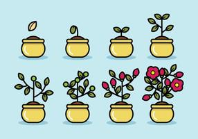 Vecteur végétal du cycle de vie