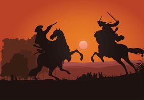 Vecteur libre de silhouette de cavalerie