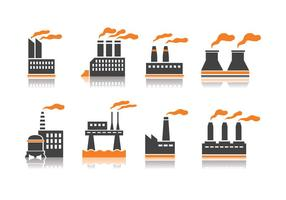 Icônes de l'industrie de la pile de fumée vecteur