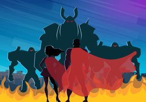 Super Heros Et Les Villains Dans La Ville vecteur
