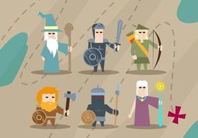 Rpg personnages de jeux magicien chevalier elfe illustrations vectorielles vecteur