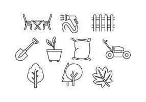 Vecteur gratuit d'icône de ligne de soin de pelouse