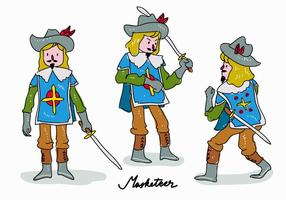 Royal Masketeer Character Pose Hand Drawn vector illustration
