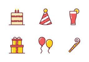 Icône de fête d'anniversaire vecteur