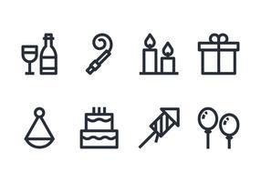 Ensemble d'icônes d'anniversaire vecteur