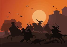 Vecteur gratuit de bataille de cavalerie