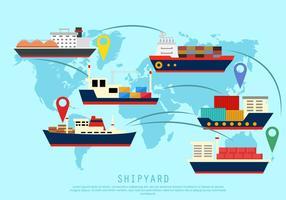 Chantier naval à travers le monde vecteur