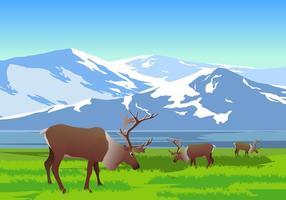 Paysage de montagne avec caribou vecteur