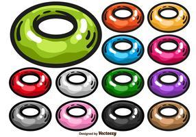 Ensemble de vecteur coloré de l'icône du tube intérieur