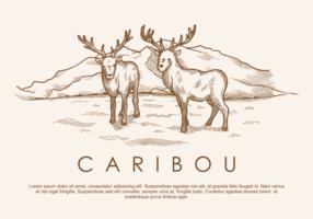 Des vecteurs de caribous de cerisiers dessins à main libre vecteur