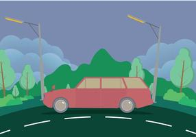 Old Station Wagon With Mountains Illustration vecteur
