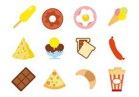 Snacks gratuits desserts vecteur icônes