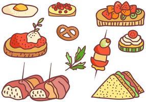 Vecteurs d'apéritifs de doodle gratuits vecteur