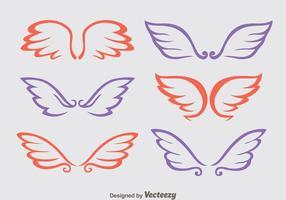Jolis vecteurs d'ailes angulaires vecteur