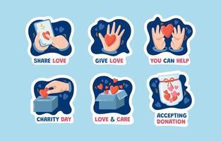 collecte de dons stickers vecteur