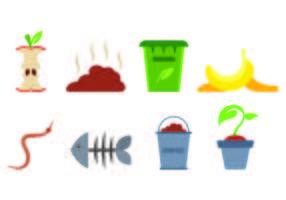 Ensemble d'icônes de compostage