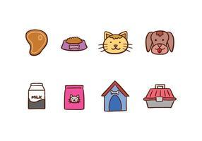 Icônes de chat et de chien vecteur