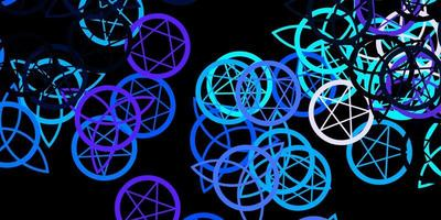 modèle rose foncé et bleu avec des signes ésotériques vecteur