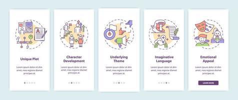 écran de la page de l'application mobile d'intégration des éléments d'écriture créative vecteur
